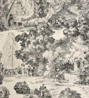Papel pintado toile de jouy clásico escenas del parque gris oscuro Freminet 229129