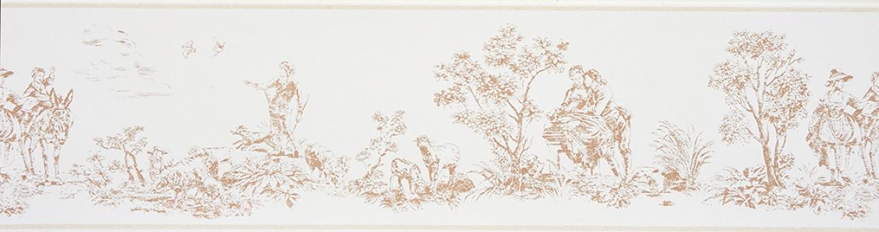 Cenefa toile de jouy escenas campestres beige oscuro Caron 229136