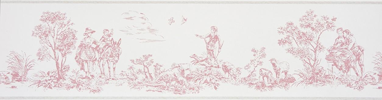 Cenefa toile de jouy escenas campestres rosa claro Caron 229137