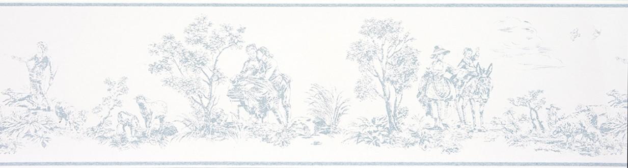 Cenefa toile de jouy escenas campestres celeste grisáceo Caron 229138