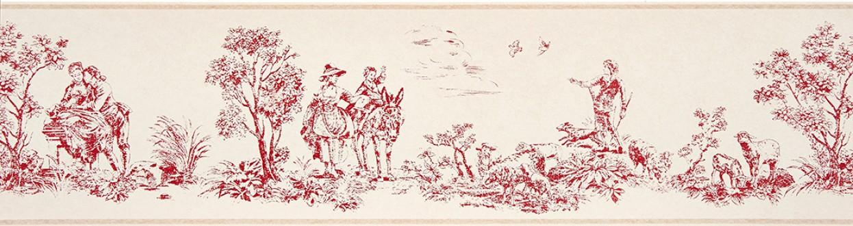 Cenefa toile de jouy escenas campestres rojo teja Caron 229139