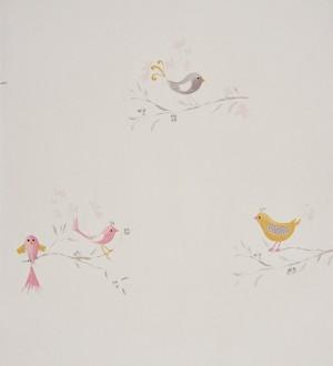 Papel pintado pájaros infantiles de acuarela Singer Birds 229275