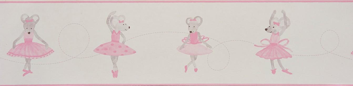 Cenefa ratitas bailarinas infantiles rosa claro Dancer Mousy 229292