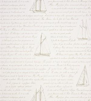 Papel pintado naútico veleros y letras en cursiva beige pálido Salaminia 230119