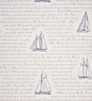 Papel pintado veleros y letras en cursiva celeste grisáceo Salaminia 230120
