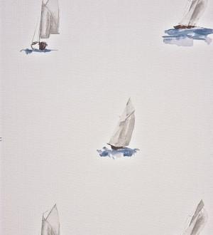 Papel pintado veleros de acuarela azul grisáceo claro Ourang 230121