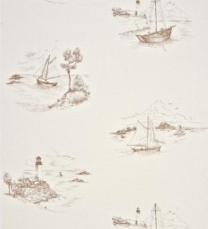 Papel pintado toile de jouy escenas marineras gris visón Beagle 230123