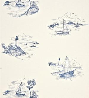 Papel pintado toile de jouy escenas marineras azul oscuro pálido Beagle 230124