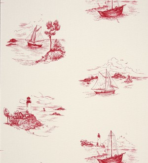 Papel pintado toile de jouy escenas marineras rojo oscuro Beagle 230125