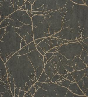 Papel pintado ramas de árboles marrón topo Aloysia 230171
