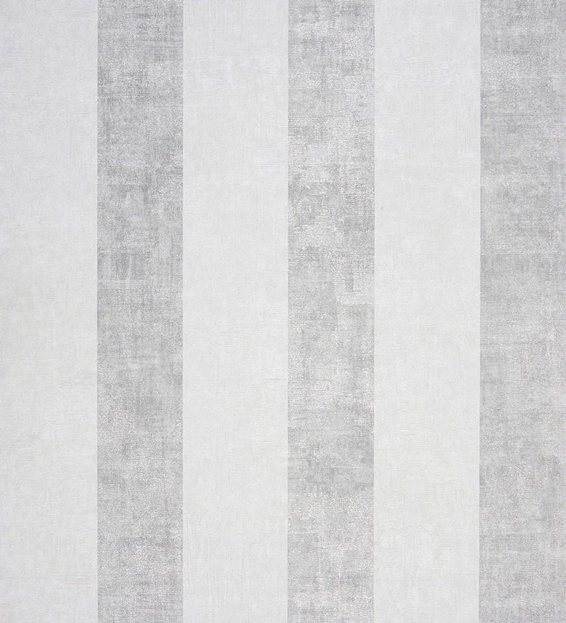 Papel pintado rayas modernas degradadas plata metalizado y blanco roto Raya Lilien 231117