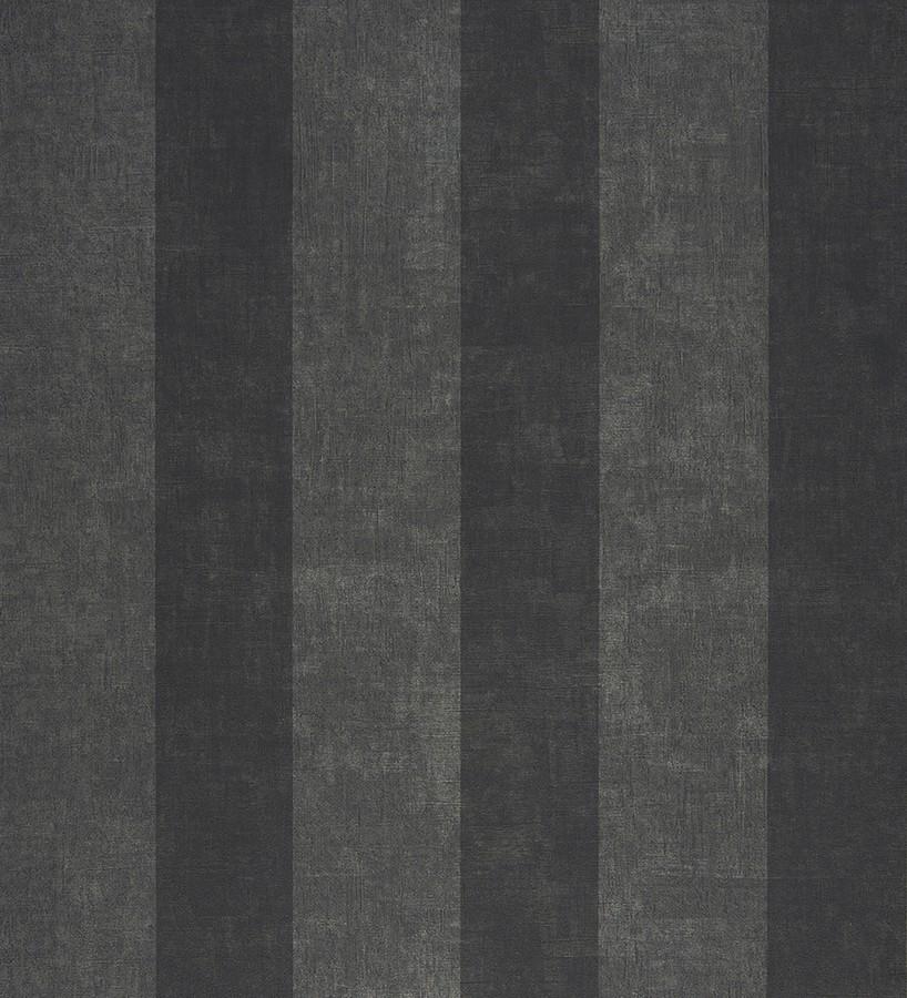 Papel pintado rayas modernas efecto decapado gris oscuro y negro Raya Lilien 231119