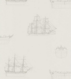 Papel pintado diseño de barcos naútico gris fondo blanco Orellana 231922