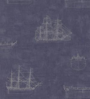 Papel pintado diseño de barcos naútico fondo azul oscuro pálido Orellana 231923