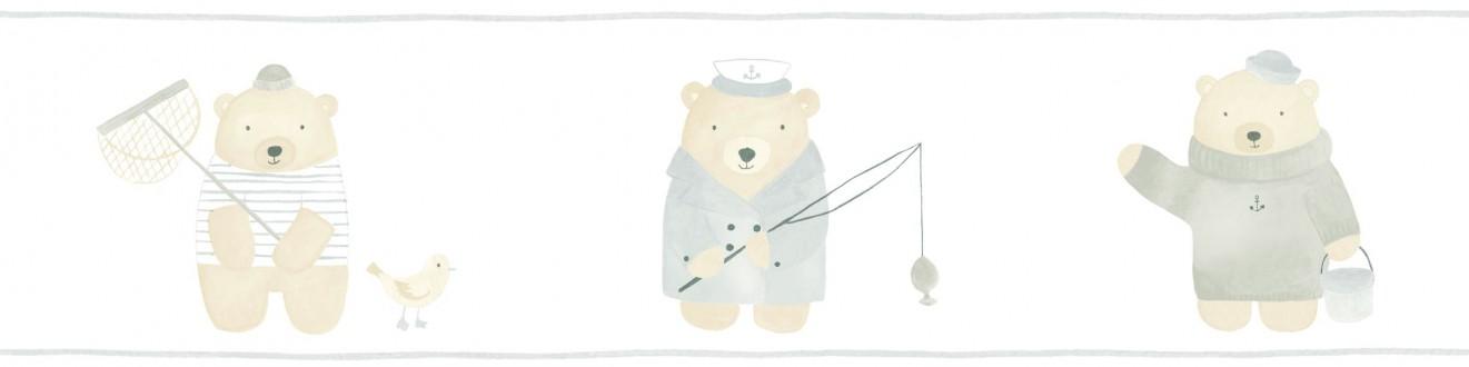 Cenefa osos de pesca infantiles Teddy Sailors 232154