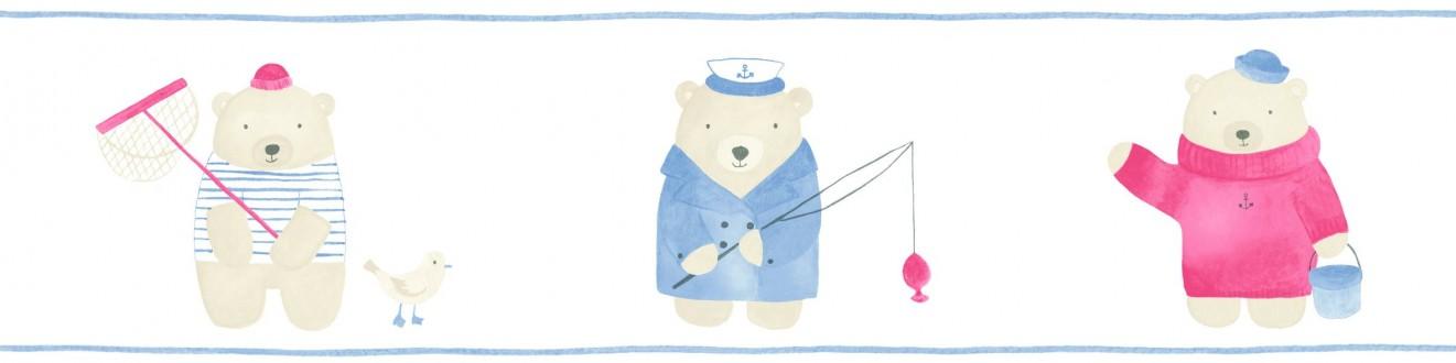 Cenefa osos de pesca infantiles Teddy Sailors 232155