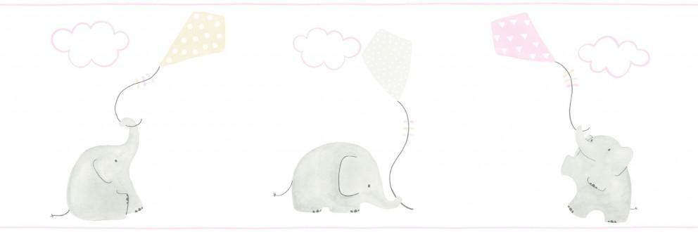 Cenefa elefantes infantiles con cometas Candy Elephants 232157