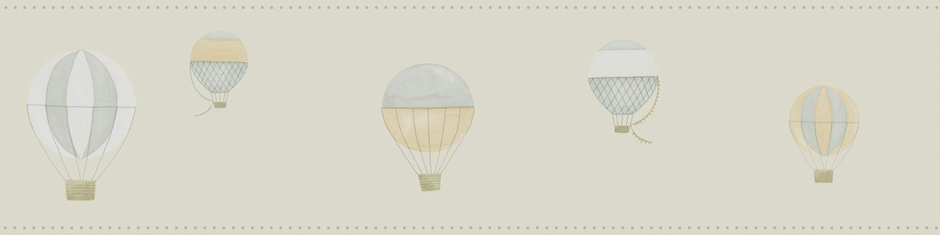 Cenefa globos aerostáticos de acuarela beige oscuro Lucile 232159