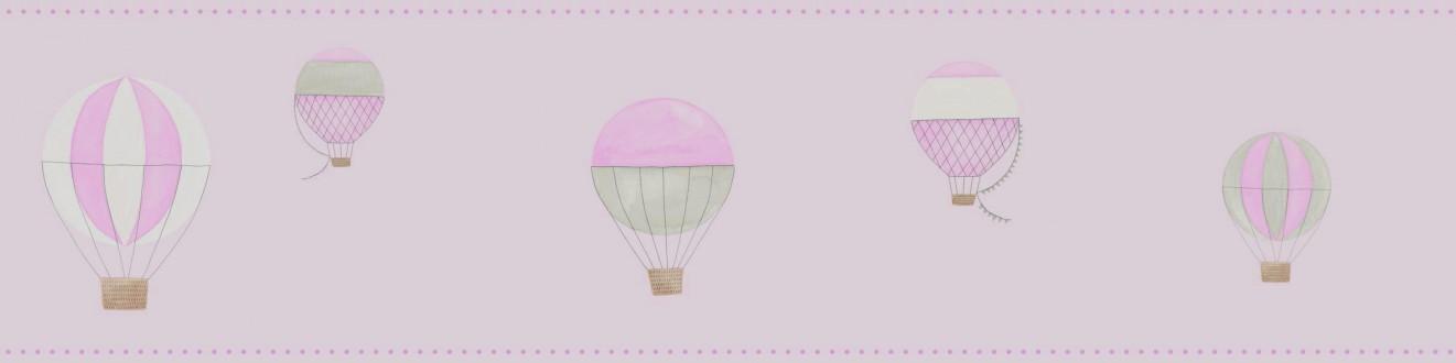 Cenefa globos aerostáticos de acuarela rosa claro Lucile 232160