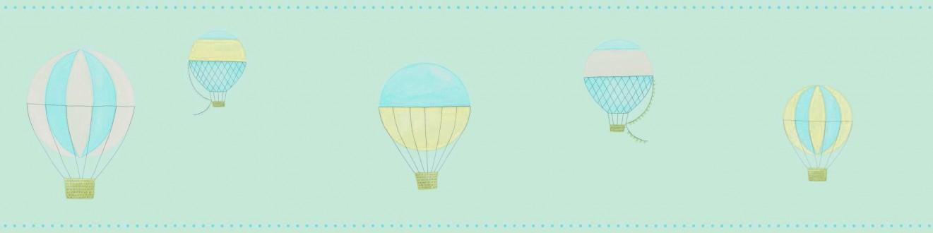 Cenefa globos aerostáticos de acuarela celeste aguamarina Lucile 232161