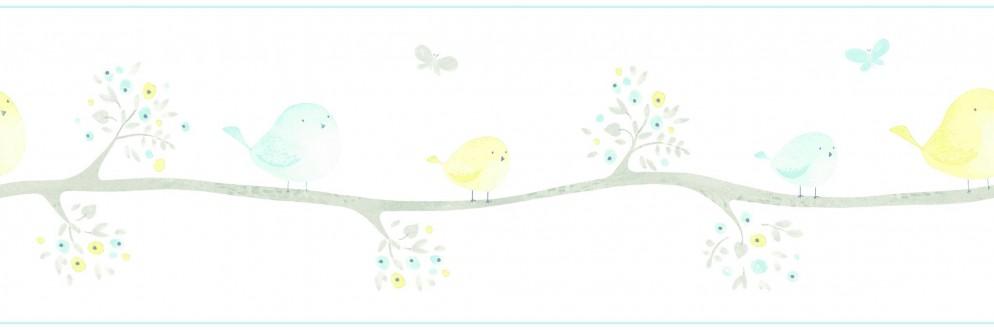 Cenefa pájaros de acuarela en árboles Watercolor Birds 232164