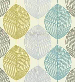 Papel pintado hojas grandes rayadas modernas fondo beige claro Indra 563507