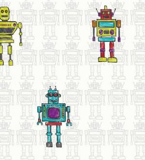 Papel pintado robots para dormitorios infantiles Friendly Robots 563585