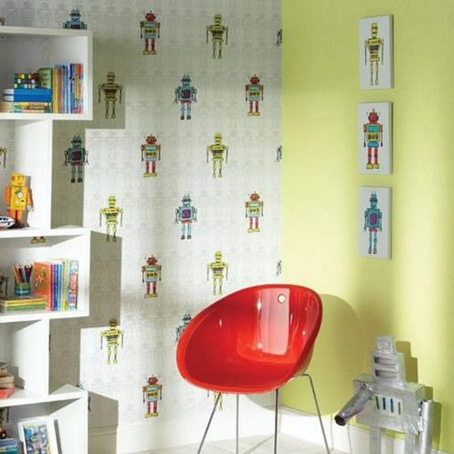 Papel pintado robots para dormitorios infantiles for Papel decorativo pared dormitorio