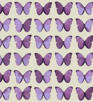 Papel pintado mariposas vintage morado claro fondo beige claro Nerina 563671