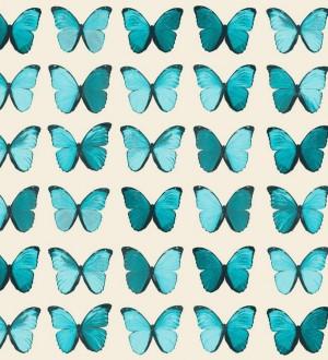 Papel pintado mariposas vintage verde azulado fondo blanco Nerina 563672