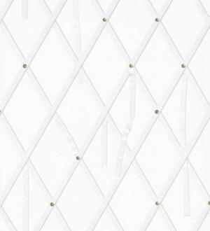 Papel pintado ornamental de rombos con lazos fondo blanco Batlló 563843