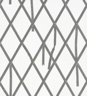 Papel pintado ornamental de rombos con lazos fondo blanco Batlló 563844