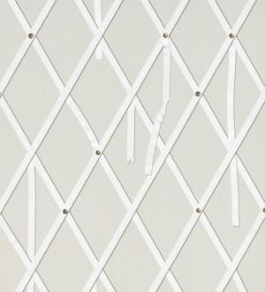 Papel pintado ornamental de rombos con lazos fondo gris Batlló 563847