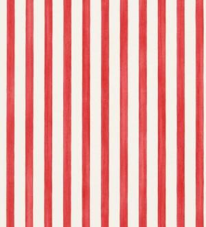 Papel pintado rayas modernas bicolor rojo intenso y blanco Raya Turkana 563902