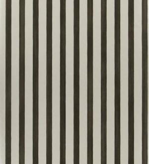 Papel pintado rayas modernas bicolor negro y plata metalizado Raya Turkana 563906