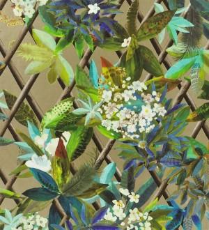 Papel pintado enredadera de hojas y flores Anouk 563926