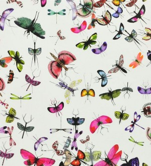 Papel pintado insectos y mariposas románticos fondo blanco Somerset 563960