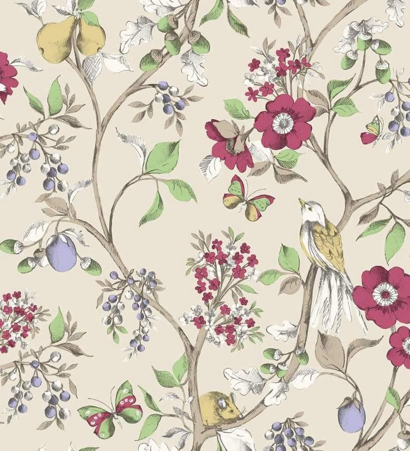 Papel pintado naturaleza de p jaros y flores fondo gris claro caqui rebecca 564426 - Papeles pintados gaulan ...