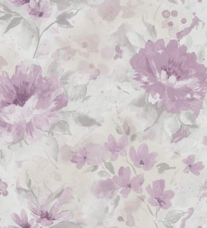 Papel pintado peonías románticas de acuarela gris claro liláceo Luzia 564440
