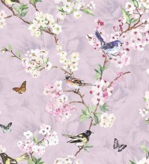 Papel pintado pájaros y flores románticas fondo lila claro Vega 564499