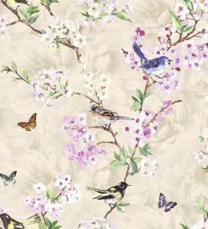 Papel pintado pájaros y flores románticas fondo beige claro Vega 564500