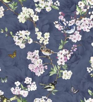 Papel pintado pájaros y flores románticas fondo azul oscuro pálido Vega 564501