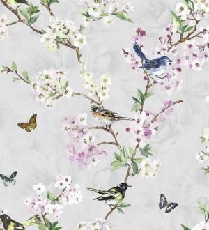Papel pintado pájaros y flores románticas fondo gris claro Vega 564502