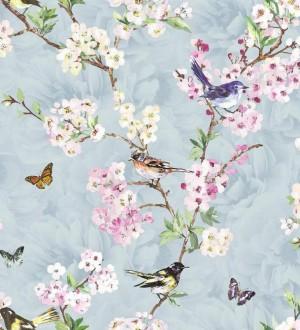 Papel pintado pájaros y flores románticas fondo celeste grisáceo Vega 564503