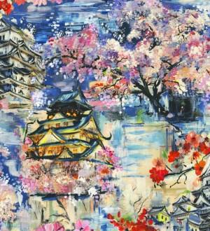 Papel pintado iconos orientales de acuarela multicolor Mihoko 564516