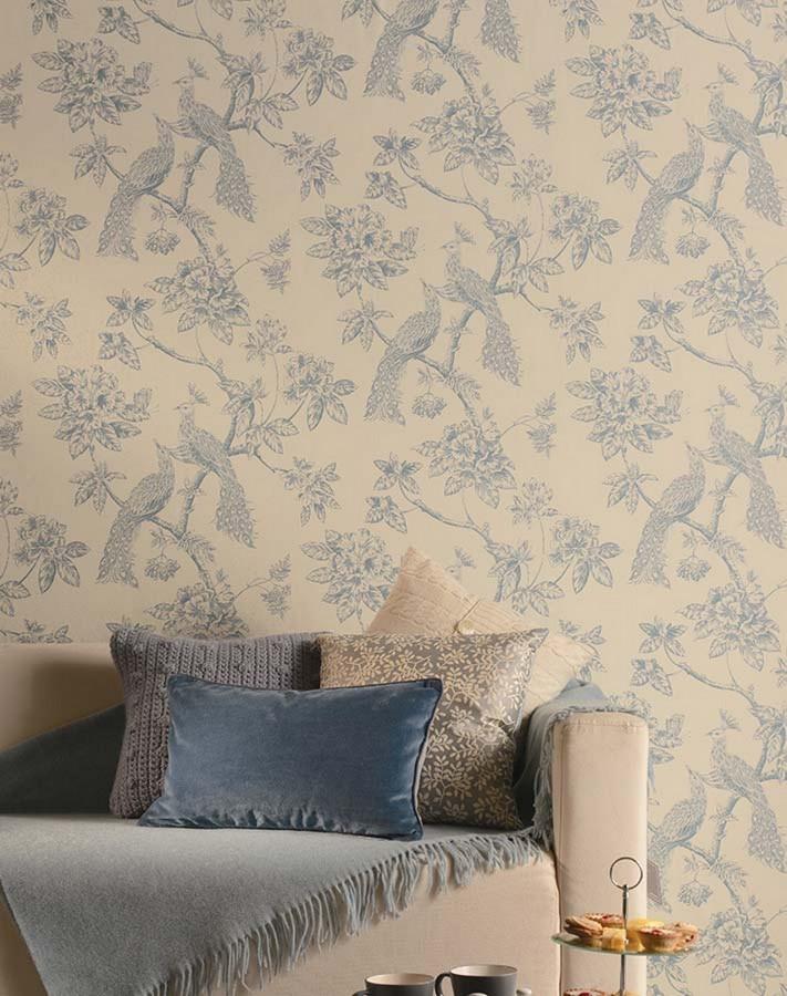 Papel pintado pavos reales en ramas florales ingleses - Papeles pintados ingleses ...