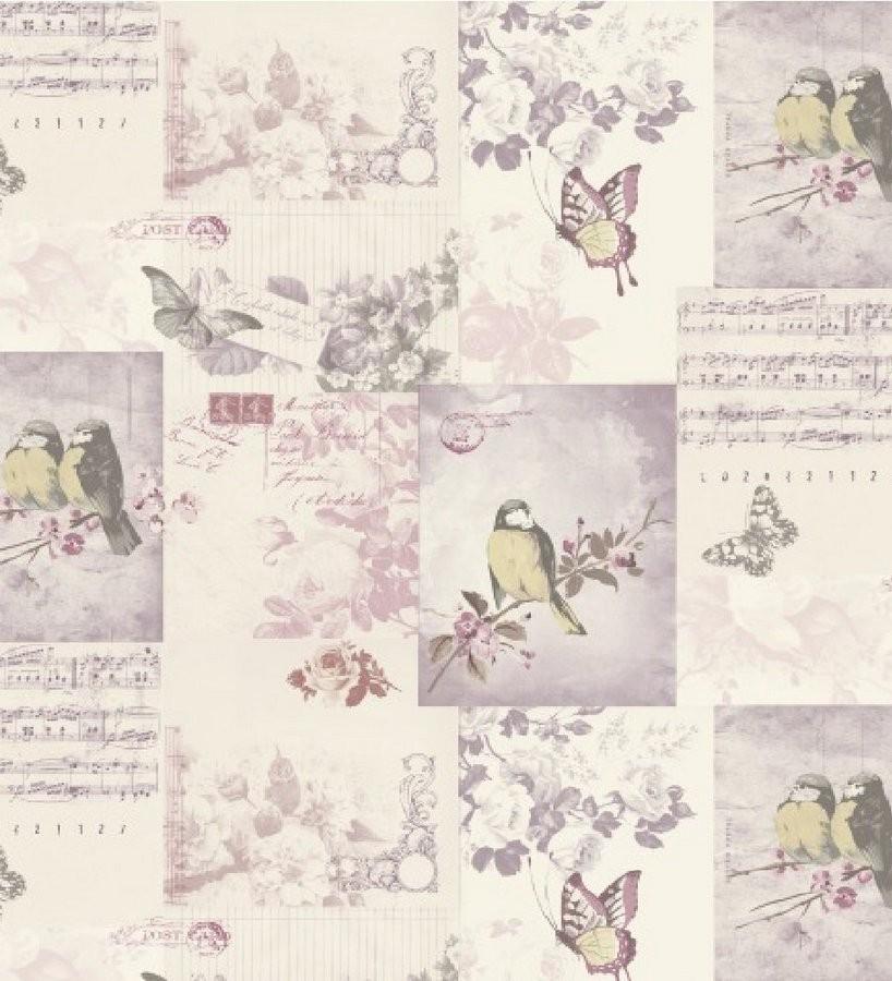 Papel pintado collage inglés de pájaros y mariposas malva Giselle 564608