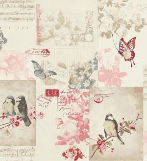 Papel pintado collage inglés de pájaros y mariposas rosa claro Giselle 564610