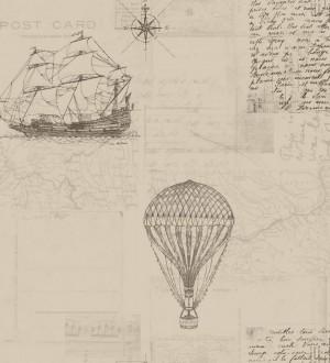 Papel pintado barcos y cartas de viaje vintage Surkán 564612