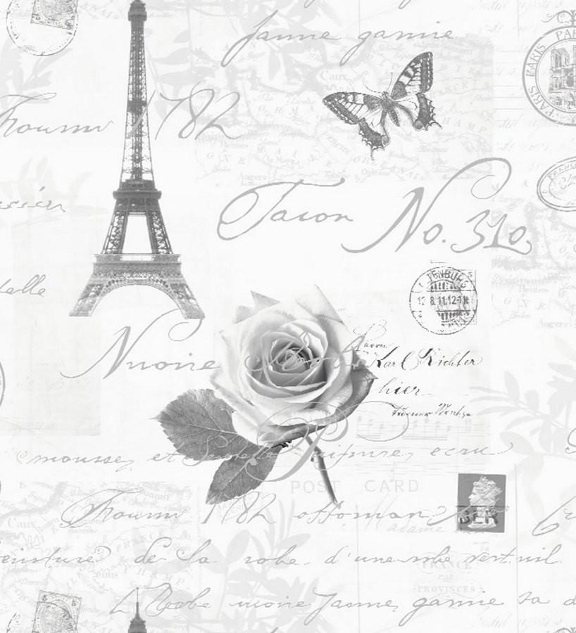 Papel pintado collage francés con letras y sellos blanco y negro París Vintage 564614